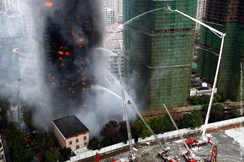 CHINA SHANGHAI APARTMENT BUILDING FIRE